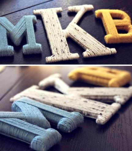 Letras decoradas con hilos resultan sencillas y efectivas