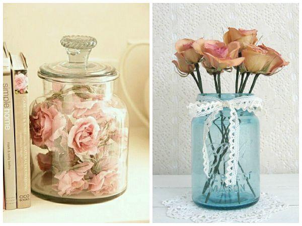 Jarrones Con Flores Secas Un Centro De Mesa Hecho Con Un Nido De - Jarrones-con-flores-secas