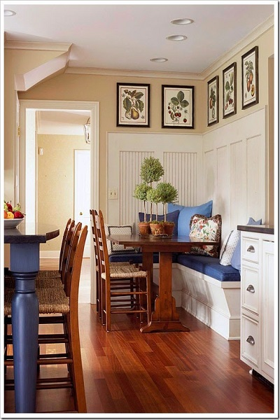 la opcin standard es poner una mesa con sus sillas pero hay otras muchas como usar la encimera colocar una barra o
