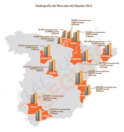 Mapa del lloguer a Espanya - 2014