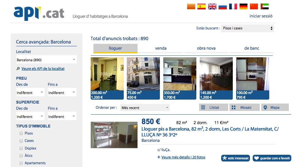 Web de pisos en alquiler