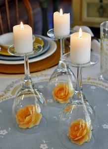 centro de mesa flores vela