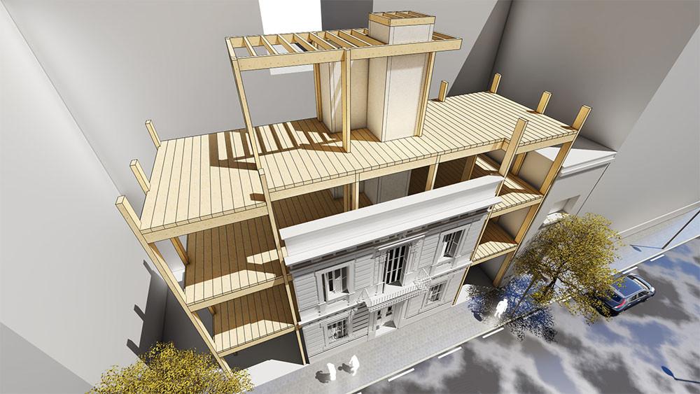 edificio de madera barcelona